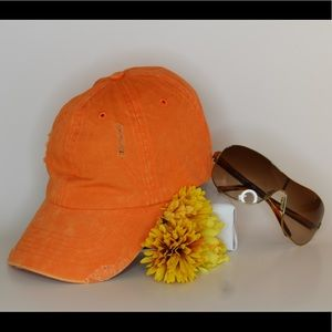 Accessories - Distressed Orange Adjustable Baseball Cap
